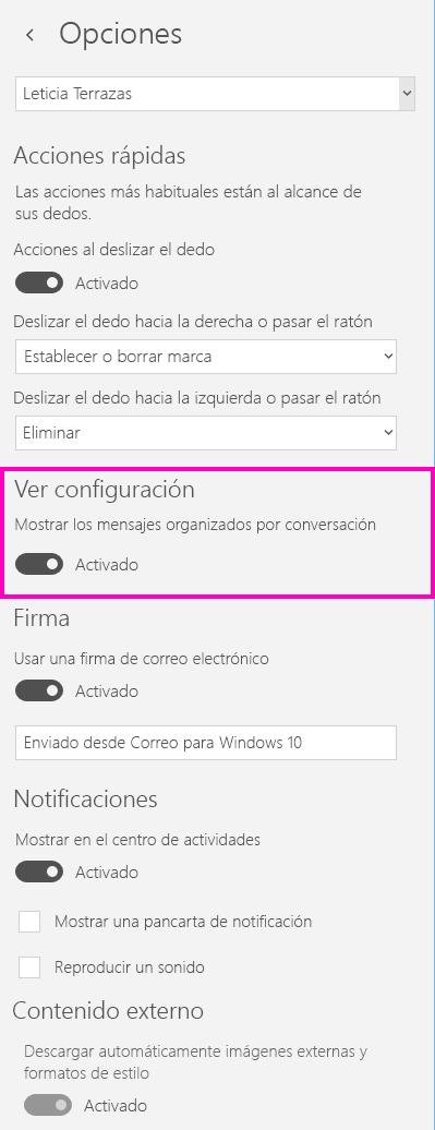 Desactivar la vista de conversación en la aplicación Correo para Windows 10