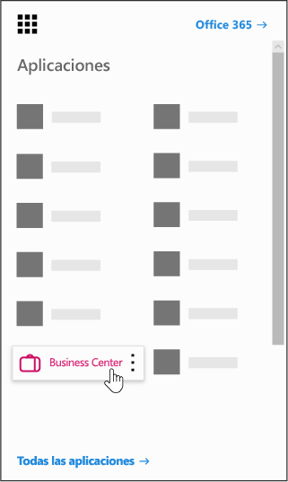 El iniciador de aplicaciones de Office 365 con la aplicación Business Center resaltada