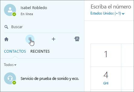 Captura de pantalla que muestra dónde realizar una llamada de teléfono con Skype