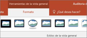 Se muestra la pestaña Formato de la sección Herramientas de la vista general de la cinta de opciones de PowerPoint.