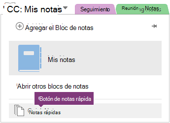 Botón de notas rápida en la parte inferior de la lista de blocs de notas