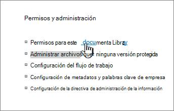 Permisos para este vínculo de la biblioteca de documentos