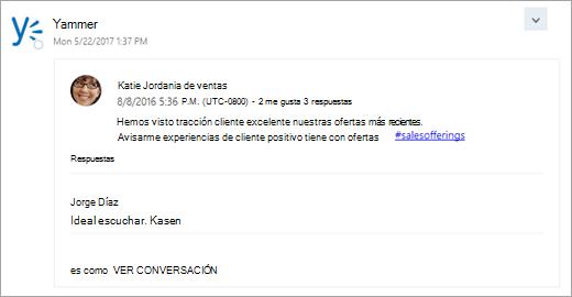 Una captura de pantalla de una tarjeta de un servicio conectado que se entrega en la Bandeja de entrada de grupo