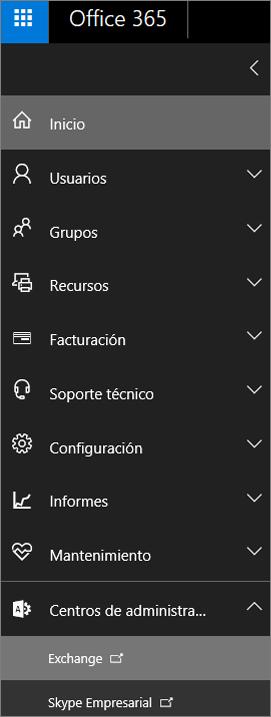 La captura de pantalla muestra el Centro de administración de Office 365 con la opción Centros de administración expandida y Exchange seleccionada.