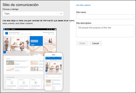 Elegir un diseño de sitio de comunicación