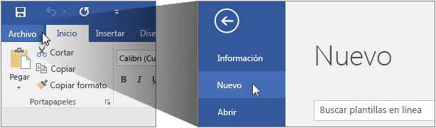Interfaz de usuario para crear un documento de Word.