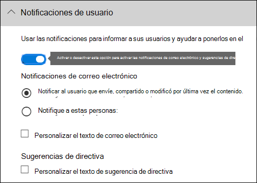 Sección de notificaciones de usuario del editor de regla