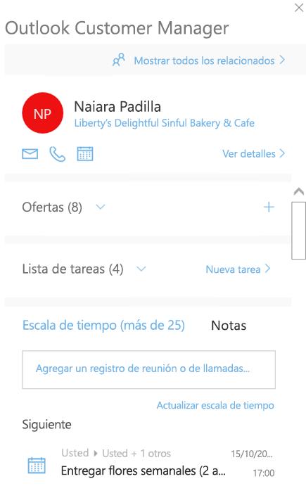 Pantalla de bienvenida del Administrador de clientes de Outlook