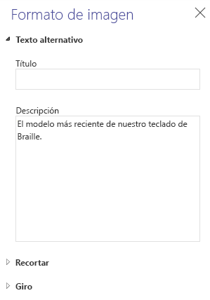 Panel de texto alternativo de imagen de Word online