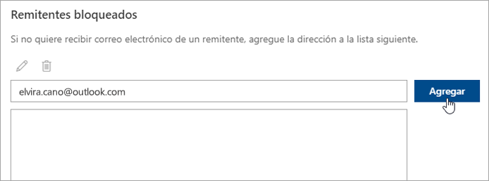 Captura de pantalla del cuadro de remitentes bloqueados.