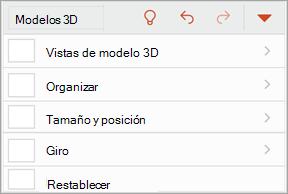 Captura de pantalla del menú modelos 3D
