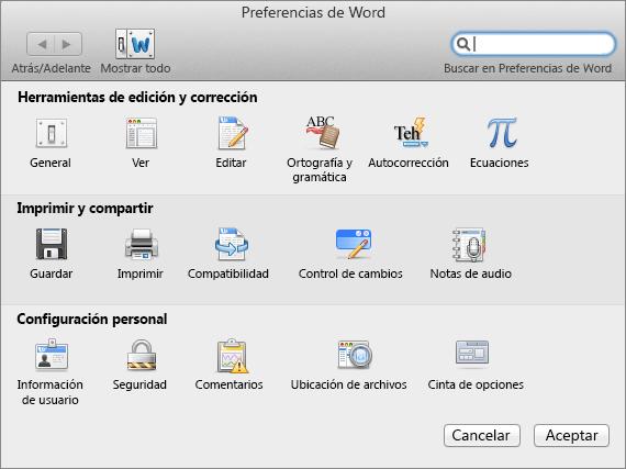 Preferencias de Word
