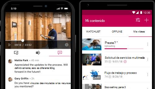 Contenido en la aplicación móvil de Stream