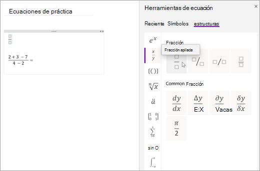 Seleccione estructuras y, a continuación, seleccione una categoría para examinar las estructuras matemáticas disponibles.