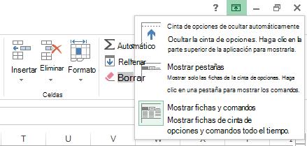 Al hacer clic en el icono Opciones de presentación de la cinta de opciones, se abre un menú.