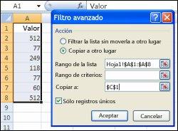 Aplicación del Filtro avanzado en un rango de datos