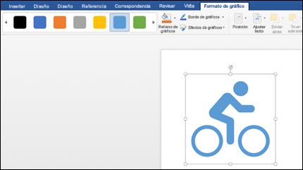 La Galería de estilos con un estilo azul claro aplicado a un gráfico de una bicicleta