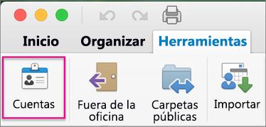 En la pestaña Herramientas, haga clic en Cuentas.