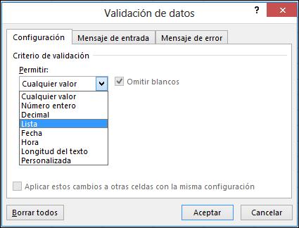 Pestaña Configuración en el cuadro de diálogo Validación de datos