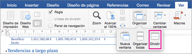 Haga clic en Dividir para dividir la ventana de Word en dos vistas del mismo documento.