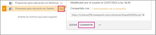 Elija los puntos suspensivos situados junto al archivo que desea compartir y, a continuación, seleccione Compartir.