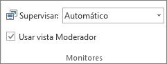 Grupo Monitores de la pestaña Presentación con diapositivas