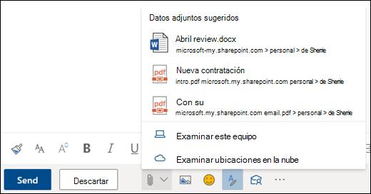 Adjuntar archivos que muestran datos adjuntos sugeridos