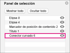 Muestra el conector en la parte inferior de la lista en el panel de selección