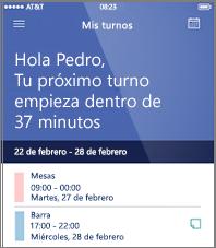 Ejemplo de la programación del trabajo de un día en la aplicación móvil de StaffHub