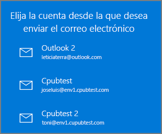 Elija una cuenta desde la que enviar un correo electrónico.