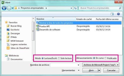 Cuadro de diálogo abierto donde aparecen los archivos de Project Online