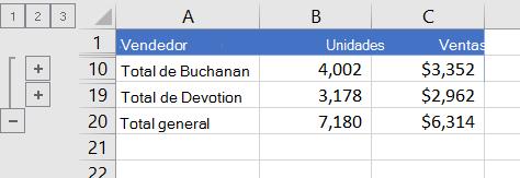 Lista esquematizada que muestra solo las filas de totales