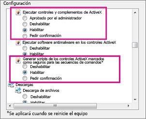Permitir controles ActiveX para cargar y ejecutar en Internet Explorer