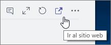 """Captura de pantalla del icono """"Ir al sitio web"""" en el menú del canal en Teams"""