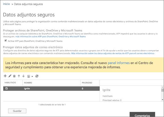 Activar protección avanzada para SharePoint Online, OneDrive para la empresa y equipos de Microsoft