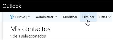 Captura de pantalla del botón Eliminar en la barra de navegación de Outlook.