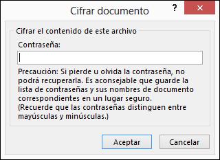Cuadro de diálogo Cifrar documento.