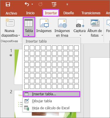 Muestra la opción Tabla en la pestaña Insertar de la cinta de opciones de PowerPoint.