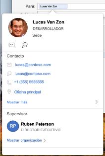 Tarjeta de contacto en el calendario de Outlook