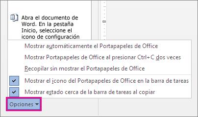 Opciones del Portapapeles en Word 2013