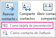 Reenviar un contacto como tarjeta de presentación