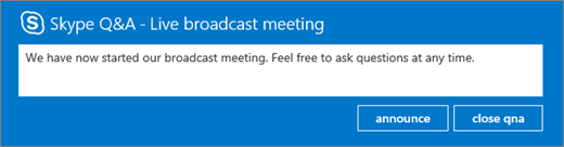 Realizar un anuncio en el panel de preguntas y respuestas