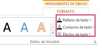 Grupo Estilos de WordArt en la ficha Formato de herramientas de dibujo