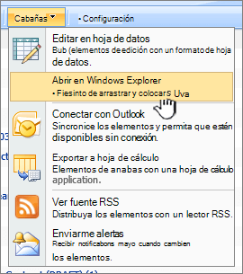 La opción Abrir en el Explorador de Windows menú en acciones