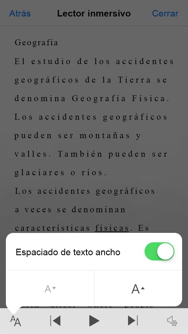 Captura de pantalla de la alternancia de configuración de Office Lens amplia espaciado del texto.