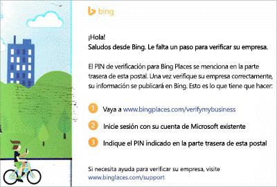Captura de pantalla: Postal de comprobación de Bing para Listings de Microsoft