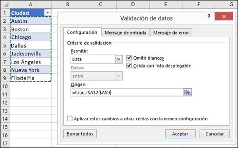 Selección del origen de validación de datos