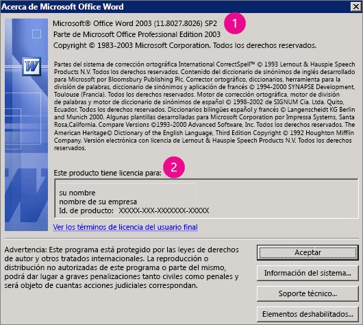 Ventana Acerca de Microsoft Office Word 2003