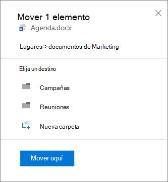 Captura de pantalla de cómo mover un archivo de OneDrive para la empresa a un sitio de SharePoint