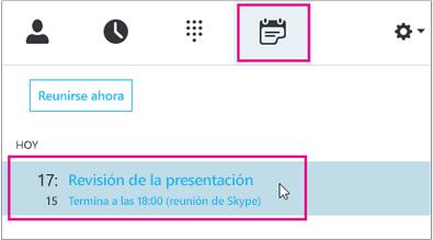 Unirse a una reunión desde la pestaña Reunión de Skype Empresarial